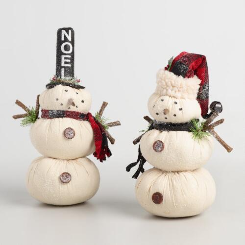 Fabric Snowmen Set of 2