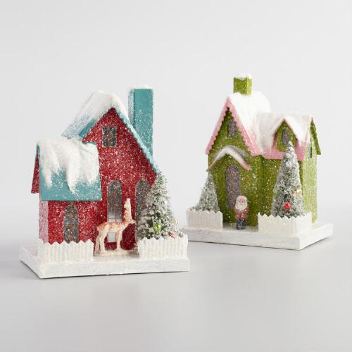 Retro Paper Houses Set of 2