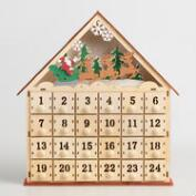 Wood Advent Calendar House with LED Lights