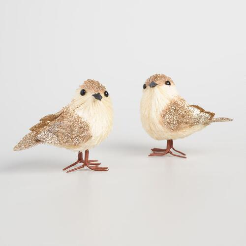 Natural Fiber Blushing Birds Set of 2
