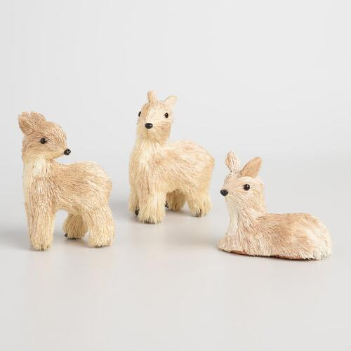 Natural Fiber Blushing Deer Set of 3