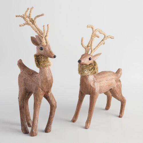 Natural Fiber Deer with Faux Fur Collars Set of 2