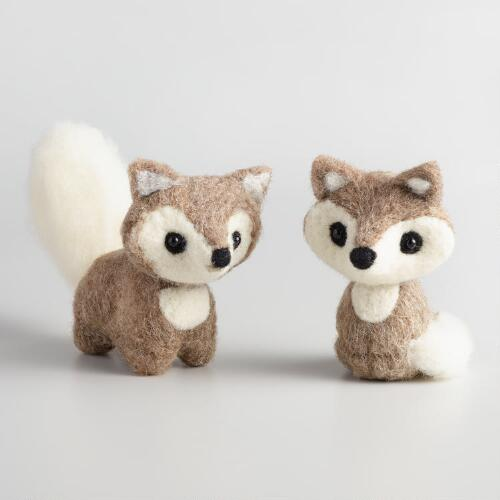 Felted Wool Foxes Set of 2