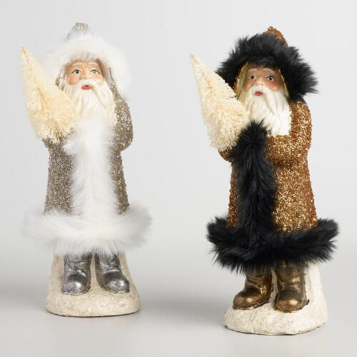 Paper Pulp Santas with Faux Fur Set of 2