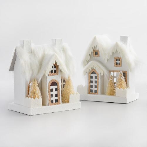 Paper Houses with Faux Fur Set of 2