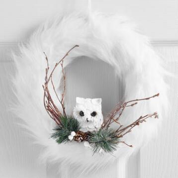 White Faux Fur Wreath with Owl