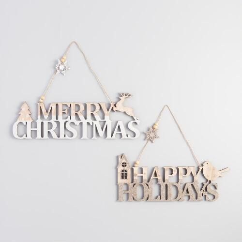 Wood Holiday Greetings Hanging Decor Set of 2