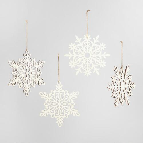 Laser Cut Wood Hanging Snowflakes Set of 4