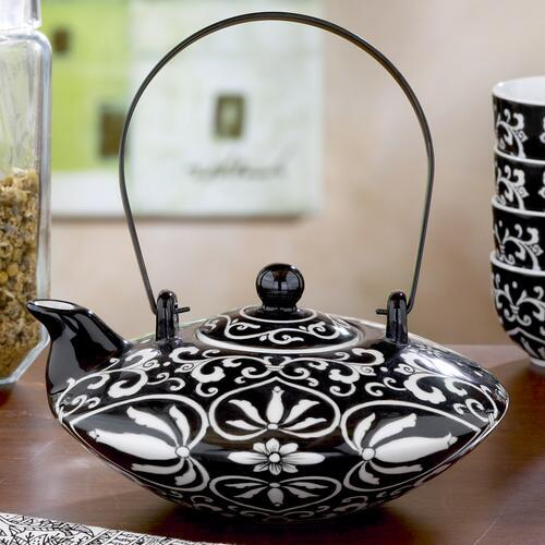 Black/White Hand painted Teapot