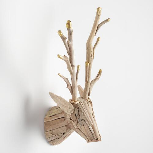 Driftwood Stag Head Wall Decor