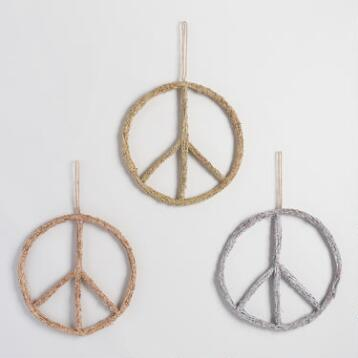 Glittered Twig Peace Sign Wall Decor Set of 3