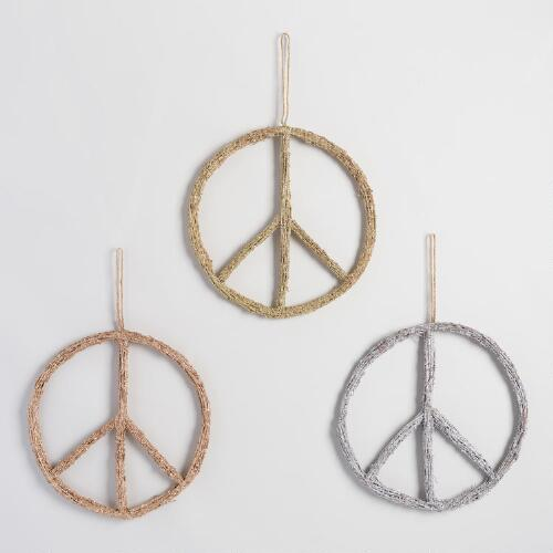 Glittered Twig Peace Sign Wall Decor Set Of 3 World Market