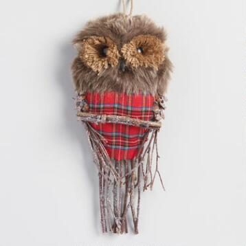 Faux Fur and Plaid Owl Wall Decor