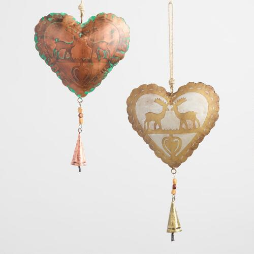 Iron Hearts with Deer and Bells Set of 2