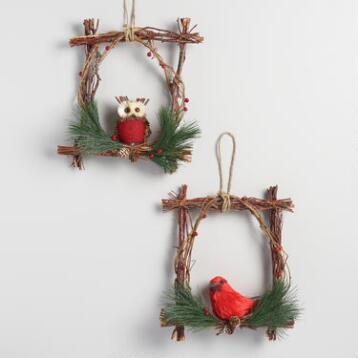 Twig Windowpane Wreaths with Birds Set of 2