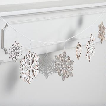 White Laser Cut Wood Snowflake Garland