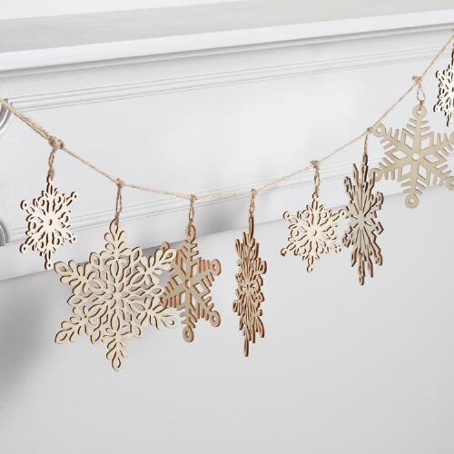 Laser Cut Wood Snowflake Garland