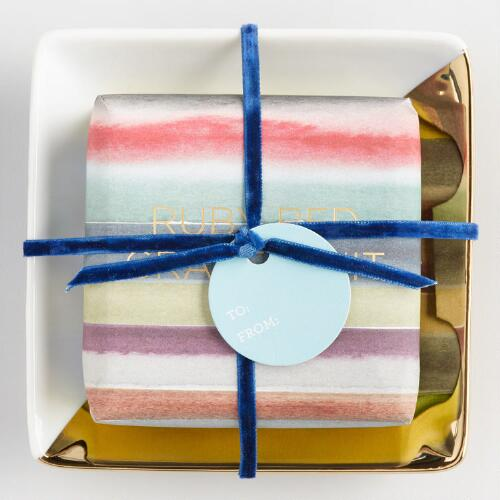 Grapefruit Soap and Gold Tray Set