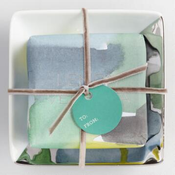 Lemon Verbena Soap and Silver Tray Set