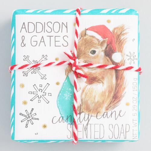 A&G Squirrel Candy Cane Bar Soap Set of 2