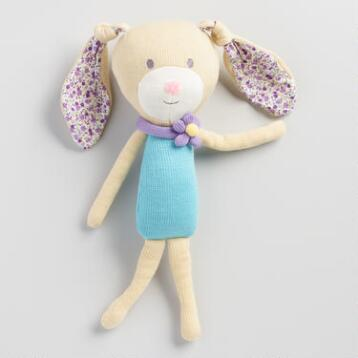 Floral Knit Plush Bunny