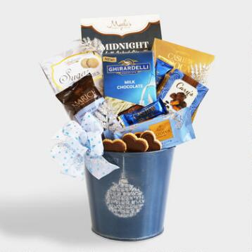 Blue Holiday Ornament Gift Tin