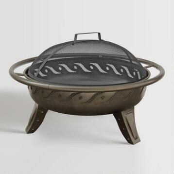 Metallic Brown Fire Bowl