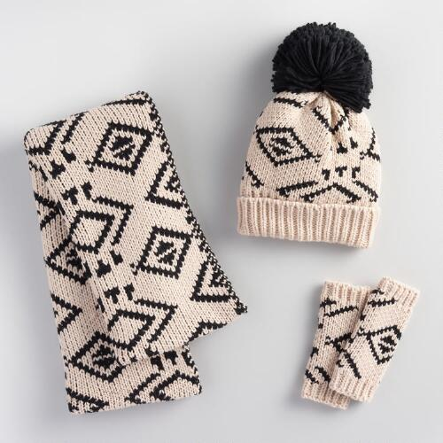 Ivory and Black Tribal Hat, Scarf and Gloves Collection