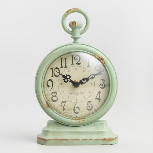 Round Antique Aqua Metal Carly Clock