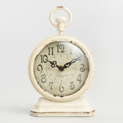 Round Antique Ivory Metal Carly Clock