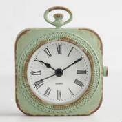 Distressed Mint Metal Abbie Pocket Watch Clock