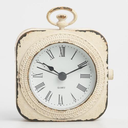 Distressed Ivory Metal Abbie Pocket Watch Clock