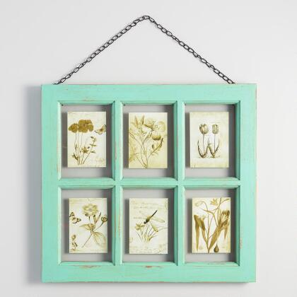 Distressed Aqua Wood 6 Photo Windowpane Frame with Chain