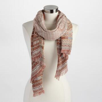 Purple, Rust and Ivory Tribal Scarf