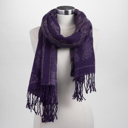 Blue Paisley Woven Scarf