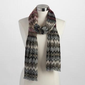 Burgundy and Black Jacquard Zigzag Scarf