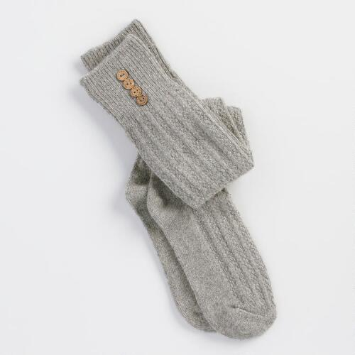 Gray Wooly Knee High Socks