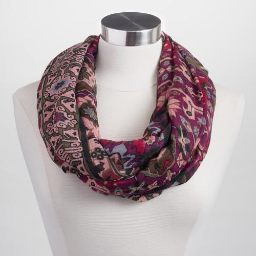Blush and Purple Suzani Infinity Scarf