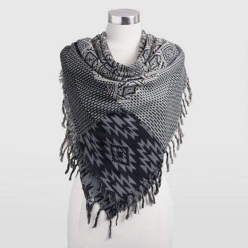 Black, Ivory and Green Scarf with Fringe