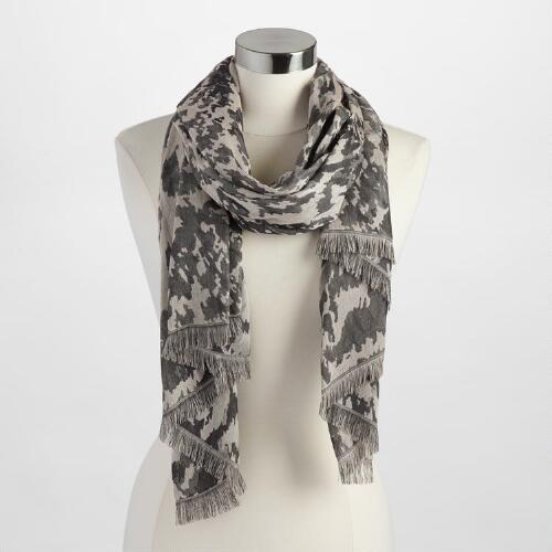 Ivory and Charcoal Cheetah Woven Scarf