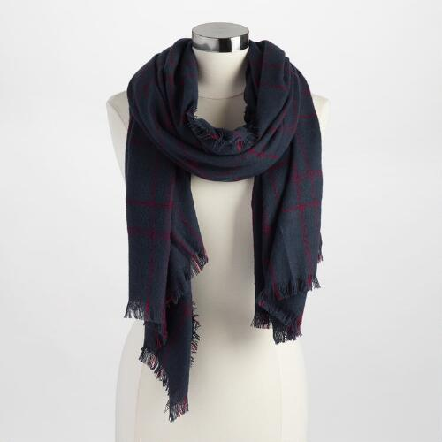 Navy and Red Plaid Scarf