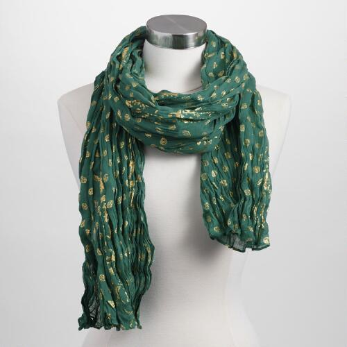 Emerald Green Scarf with Gold Print