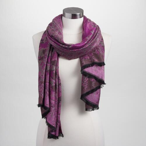 Purple and Gray Jacquard Scarf
