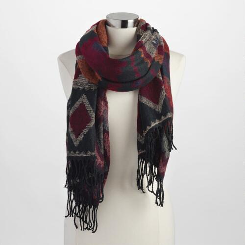 Black and Burgundy Square Blanket Scarf