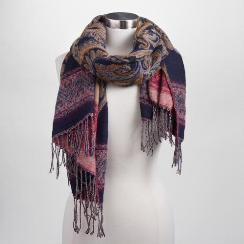 Navy and Yellow Paisley Woven Scarf