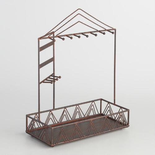 Large Bronze Chevron Wire Jewelry Stand