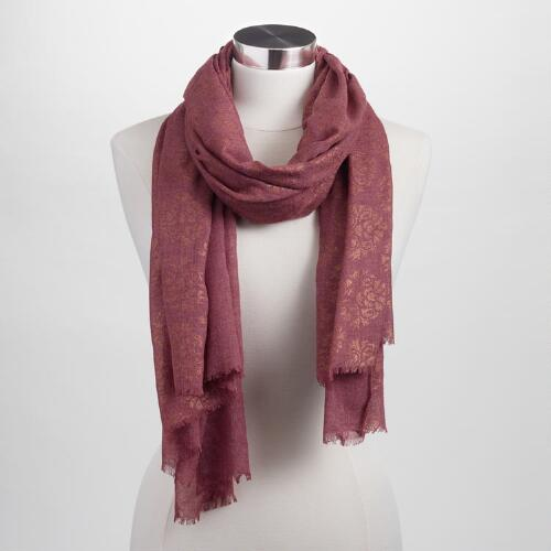 Rust and Gold Foil Scarf
