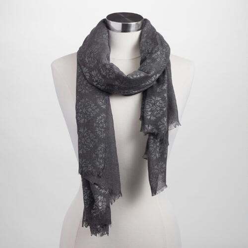 Gray and Silver Foil Scarf
