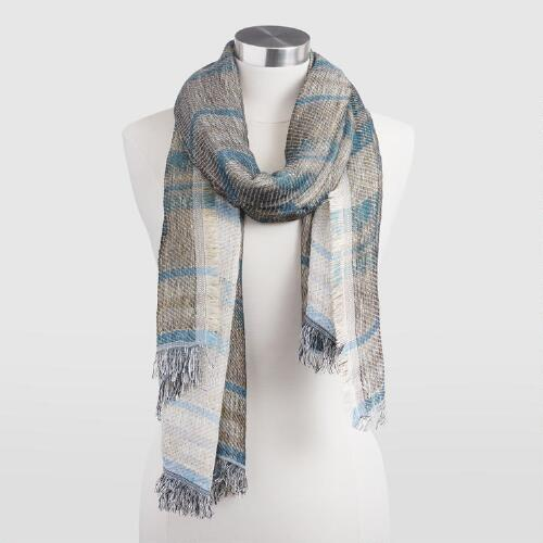 Blue and Gold Jacquard Stripe Scarf