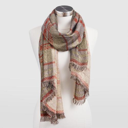 Rust and Gold Jacquard Stripe Scarf